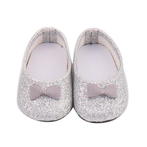 HKFV Puppe Schuhe Bowknot Kleid Schuh für 18 Zoll unsere Generation American Girl Doll 18-Zoll-Silber Bowknot American Girl Schuhe