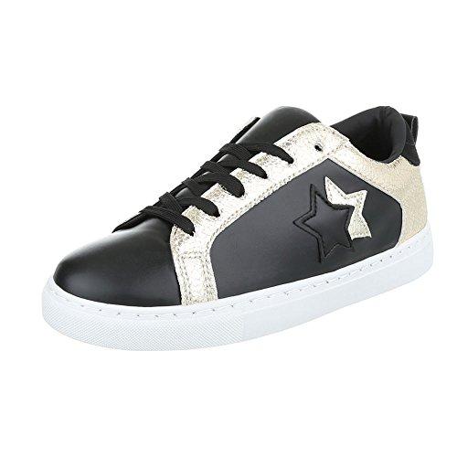 Sportschuhe Damenschuhe Geschlossen Sneakers Schnürsenkel Ital-Design Freizeitschuhe Schwarz Gold
