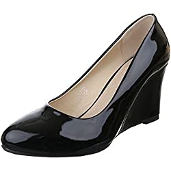 Damen Schuhe, 55758, PUMPS, KEIL WEDGES, Synthetik in hochwertiger Lacklederoptik , Schwarz, Gr 36