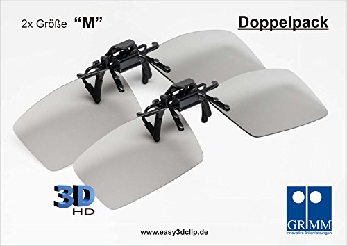 Easy 3D Clip - Aufsatz für Brillenträger - Doppelpack - 2x 3D-HD Clip in Größe