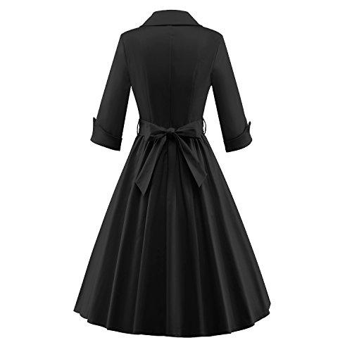 LUOUSE Robe De Bal Style Vintage 1950 Balançoire Rockabilly Audrey Hepburn Clarity Pastel Manches 3/4 Femme Noir