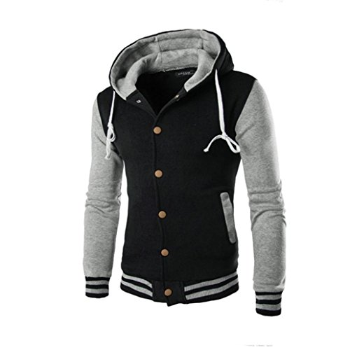 (Amlaiworld Winter Herren bunt Flickwerk warm Strickjacken Freizeit Mäntel Mode Sport Sweatshirts (XL, Grau))