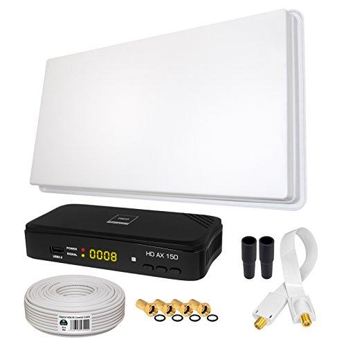 SAT KOMPLETT SET von HB-DIGITAL: Hochleistungs-Sat-Flachantenne von Megasat ✨ H30D1 Single 1 Teilnehmer Direkt ➕ 1x Hochwertiger SAT-Recever ➕ Fensterhalterung ➕ 10m HQ-135 SAT-Kabel ➕ SAT Fensterdurchführung GOLD ➕ 4x F-Stecker vergoldet ➕ 2x Gummitüllen ➕ HDMI Kabel ■ FULL HD TV 3D 4K ■ (ALL-IN-ONE)