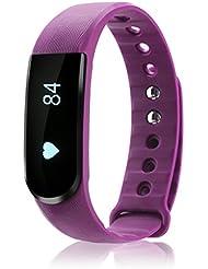 iMusi Bracelet Connecté Tracker d'activité Avec Fonction Stop-Watch Smartwatch bluetooth 4.0 - Violet