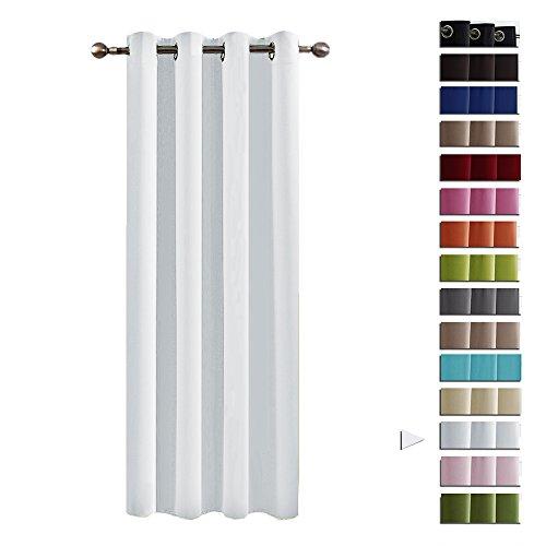 Preisvergleich Produktbild Ösenvorhang blickdichte Gardine - PONY DANCE 240 x 132 cm (H x B), Grau-weiß Blickdicht Vorhang mit Ösen Thermo-Verdunklungsvorhänge, Vorhänge ein Stück für Ehepaar