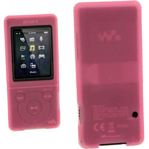 igadgitz Pink Rosa Silikon Skin Tasche Hülle Etui Case Cover for Sony Walkman NWZ-E473 NWZ-E474 NWZ-E574 NWZ-E575 E Serien Video MP3 Player 4gb 8gb 16gb + Displayschutzfolie