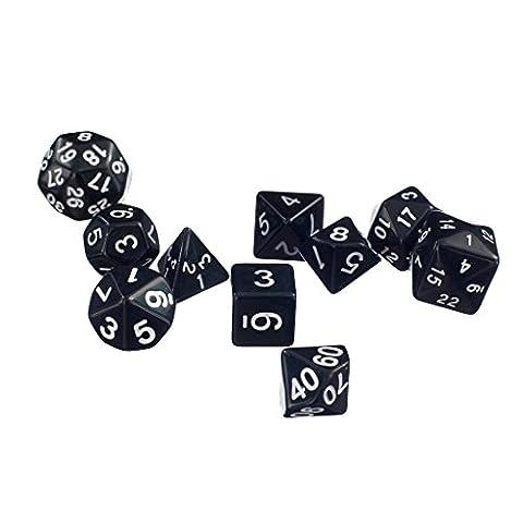 10pcs / Set Trpg Spiele Dungeons & Dragons D4-d30 Mehrseitige Würfel - Schwarz