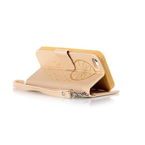 iPhone 6 Plus Hülle,iPhone 6s Plus PU Leder Wallet Case,Ekakashop Retro Lila Reiche Blumen Muster Bookstyle Flip Schale Weichen Silikon Schutzhülle Klapptasche Etui Handy Hülle Schutz hülle Cover Case Gold Traumfänger