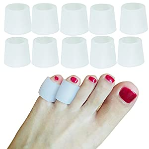 Soft Gel Toe Sleeves, Toe Protectors,5 Pairs/Pack, Finger Cover,for Corns Remover, Callus Cushion, Bunion Treatment (Pinky Toe Sleeves-Thick,Small)