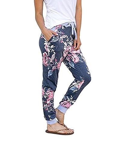 Outgobuy Women's Casual Comfy Soft Stretch Floral Print Lounge Pants (Medium, Navy) (Damen Jogginghosen)