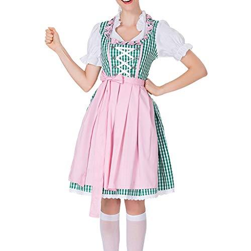 Smony Dress Damen Vintage Maid Kleid Kurzarm Plaid Druck Kleider für Oktoberfest Cosplay Cocktail Party Mittelalter Kleider Renaissance Gothic Kostüm für Damen Übergröße Gr. M, grün