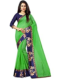 New Designer Saree Shop Women's Green Colour Chanderi Cotton Saree With Unstitched Blouse Piece