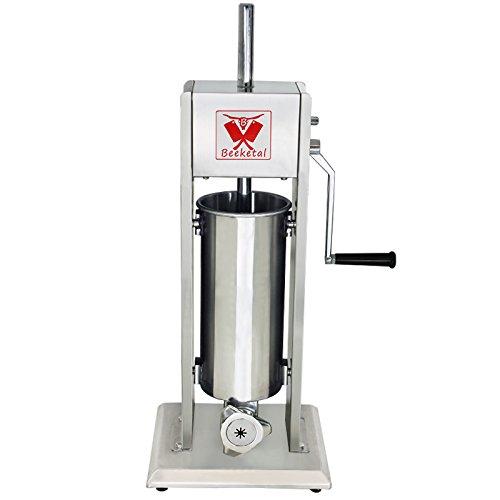 Beeketal 'BT05C' Edelstahl Industrie Wurstfüllmaschine mit Churros Maker Aufsatz (5 Liter) Wurstfüller mit 2 Gang Vollmetall-Getriebe, inkl. 5 Fülltüllen und 4tlg. Churrera Churros Maker Vorsatz