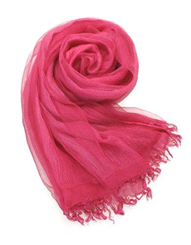 Prettystern - 2 Ply / 2 plis soie & coton 190 cm/65 cm lavés avec désinvolture optique Uni Casual & Ville étole 6. rose