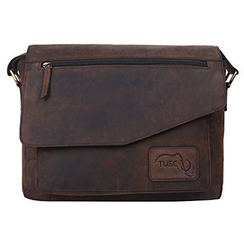 Leder-laptop-aktentasche (TUSC Triton Braun Leder Tasche Laptoptasche 14 Zoll 15,6 Zoll Herren Umhängetasche Aktentasche Schultertasche für Büro Notebook Messenger Bag Laptop iPad, Größe- 39x30x9 cm)