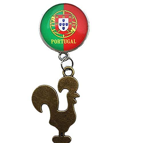 MUYU Magnet Kühlschrankmagnet, Motiv: Cock- und Nationalflagge von Portugal