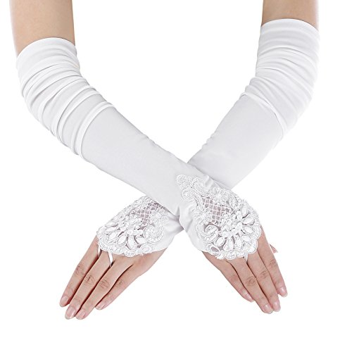 he polyester lang handschuhe sommer elegant brauthandschuhe hochzeit handschuhe S/M CL10471-2 (Weiße Spitze Fingerlose Handschuhe)