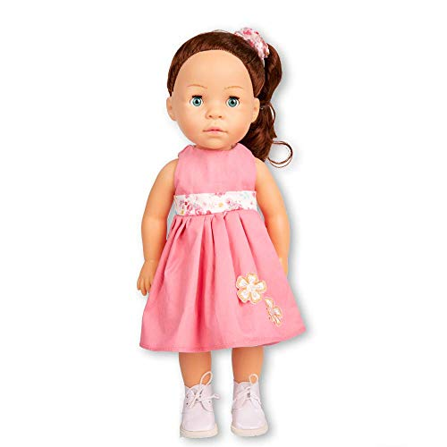MeiMei 40 cm Mädchen Puppe mit braunen Haaren Blaue Augen volle Vinyl Spielzeug Geschenkbox für Kinder Alter 3 +
