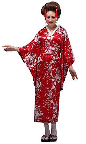 CRB Fashion Kimono japanischer Damen-Kostüm, traditioneller Stil Yukata-Kostüme - Rot - - Kulturell Passenden Kostüm