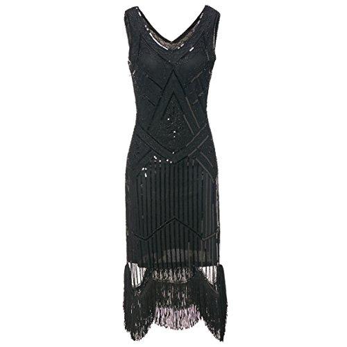 Art Deco Frauen Great Gatsby V Ausschnitt Perlen Vintage inspirierte Midi Dress für Prom Party ()