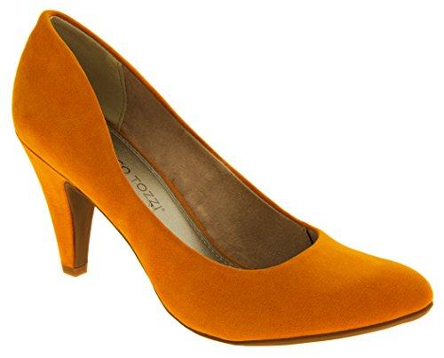 Femmes Marco Tozzi Faux suède moyen talons court chaussures Orange