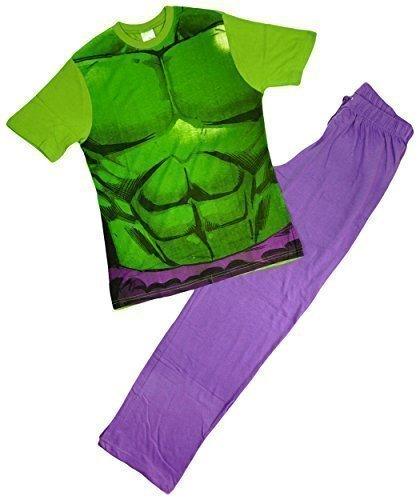 Herren Unglaubliche HULK Neuheit KostüM Muskel Körper T-Shirt Schlafanzüge Größe S M L XL - Grün, Small, (Ideen Comic Kostüme Marvel)