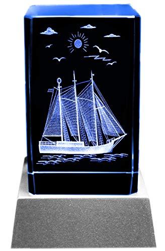 Kaltner Präsente Stimmungslicht LED Kerze/Kristall Glasblock / 3D-Laser-Gravur Maritimes Motiv Schiff Segelschiff Kristall-kerze