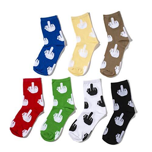 Sweet Comfort Witzige Socken im 7er Pack mit Motiv Stinkefinger, Witzgeschenke für Männer und Frauen (unisex)