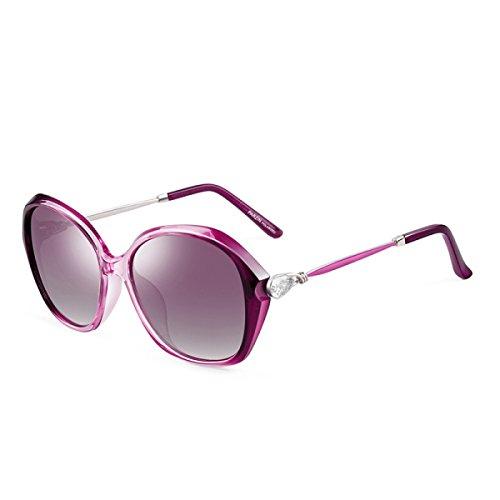 LQQAZY Glänzende Strass-Modelle Polarisierte Sonnenbrille Damenflut Große Kisten Fahrer Fahrbrille Sonnenbrille,Purple
