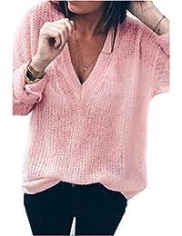 8f5b9e047ad3 DEELIN Mode Femmes Couleur Unie Pull Creux Sexy v-Cou Manches Longues en  Vrac tricoté