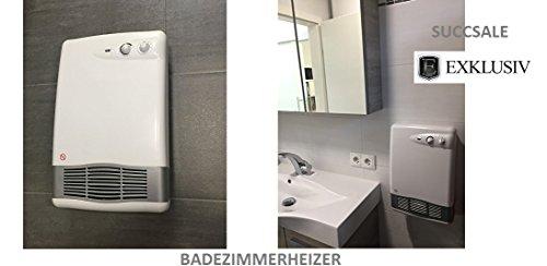 SUCCSALE Bahia Hotvent TG200IP Wandmontage, 230V, 50Hz, 2000W-Badezimmer-Schnellheizkörper - mit Thermostat, klein und leistungsstark