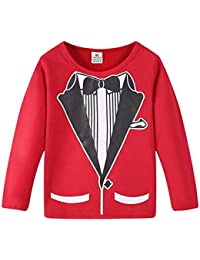 Baby Boy Gentleman camiseta camiseta de manga larga Top Bowtie ropa impresa de moda