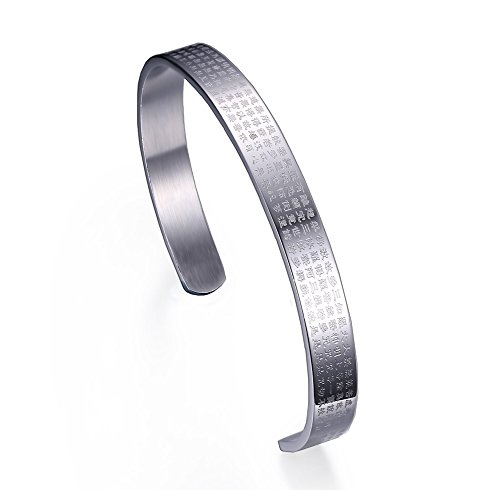 Vnox Edelstahl Bibel Schrift offene Manschette Armreif Armband für Männer und Frauen Silber