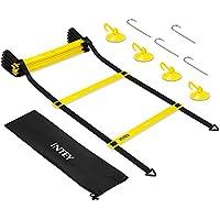 INTEY Koordinationsleiter Trainingsleiter für Fußballtraining, Agility Ladder mit 4 Saugknöpfe, Erdspieße und Tasche für Kinder und Erwachsene, 4 M 8 Sprossen