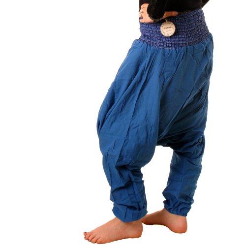 Vishes �?Alternative Bekleidung �?Sommer Haremshose aus Baumwolle mit super elastischem Bund �?handgewebt �?LANGE GRÖSSE Blau