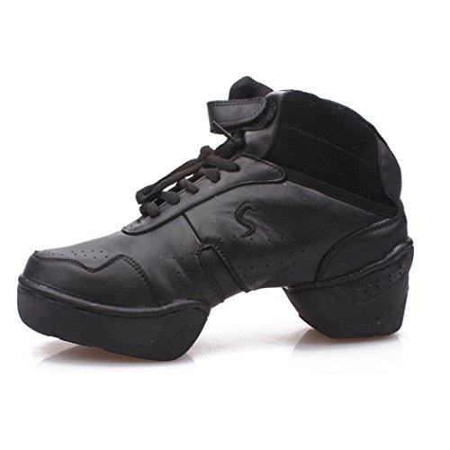 ZQ@QXComodo e traspirante soft scarpe di fondo quadrato di dimensioni lady jazz aumentata scarpe scarpe da ballo black