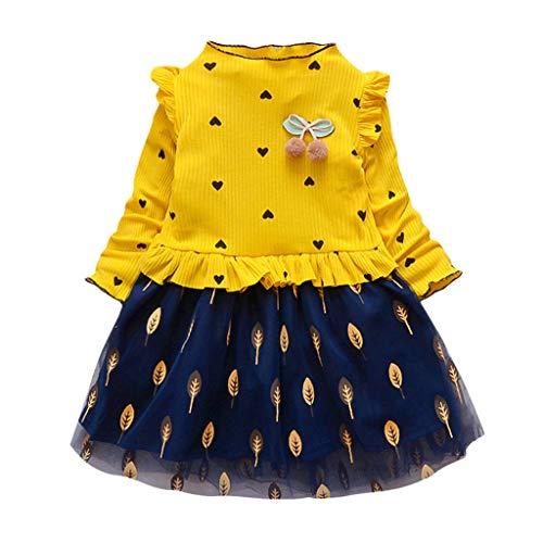 Sanahy Mädchen Langärmliges MeshSpleiss Puff Rock Kleinkind Baby Mädchen Denim Kleid Langarm Prinzessin Tutu Kleid Kleidung - Paper Denim Tuch