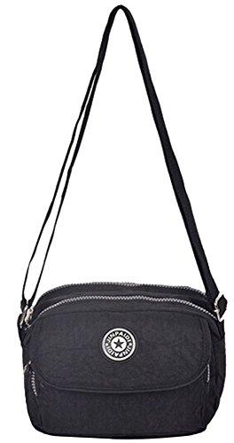 Zenness Kleine Mini Multi-Tasche Handtasche Schultertasche Umhängetasche Geldbeutel-Beutel für Teens Mädchen (Black) Black