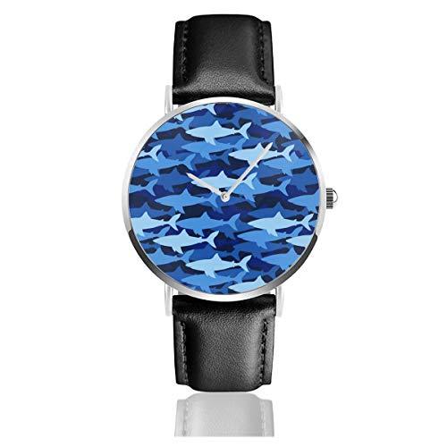 YR-Unque Lederarmbanduhren Shark Blue Camo Unisex Klassische Quarzuhr PU Leder Uhren Business Armbanduhr Kleid Uhren mit silbernem Edelstahlgehäuse, weiß, Einheitsgröße -