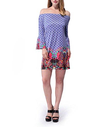 Zhuhaixmy Features National floral Print Kleid, Damen halbes Ärmel Kleid , Sommer runden Kragen Kleid W593