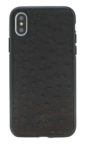 Solo Pelle Iphone X abnehmbare Lederhülle (2in1) inkl. Kartenfächer für das original Iphone X in Schwarz Straussprägung Schwarz