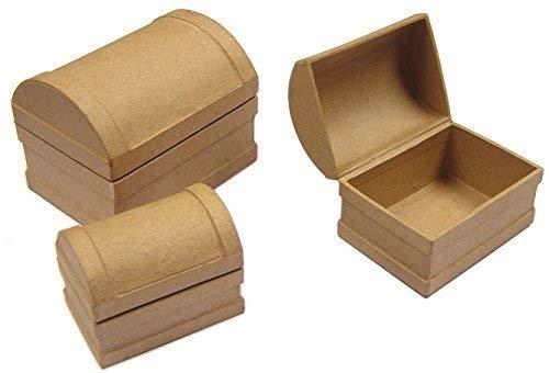 3er Set Mini Pappmaché Schatz Truhen Box Serviettentechnik Dekorations Handwerk