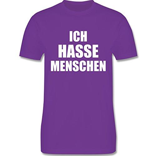 Shirtracer Statement Shirts - Ich Hasse Menschen - Herren T-Shirt Rundhals Lila