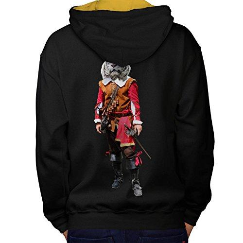 Tiger Ritter Cool Komisch Kostüm Katze Men M Kontrast Kapuzenpullover Zurück | Wellcoda