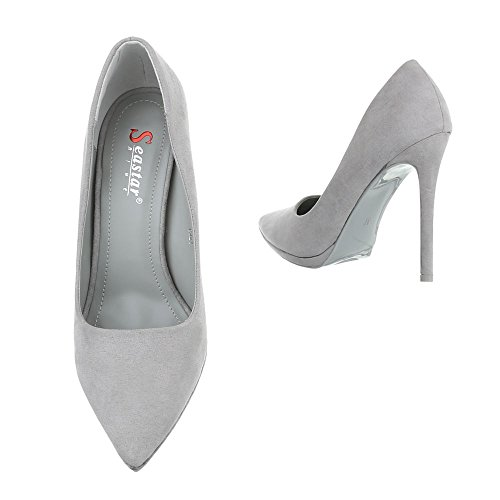 High Heel Damenschuhe Plateau Pfennig-/Stilettoabsatz High Heels Ital-Design Pumps Grau M248