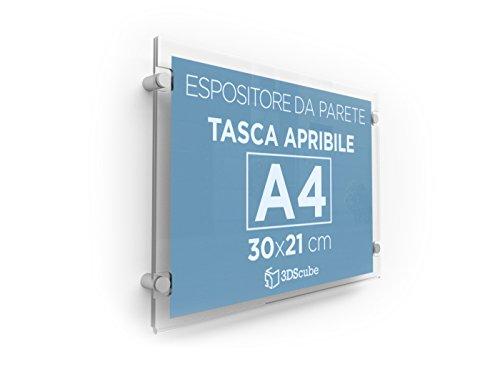 Espositore in plexiglass da parete, targa a tasca apribile in plexiglass, porta avvisi e depliant formato A4 orizzontale 30×21 cm, completa di distanziali in alluminio