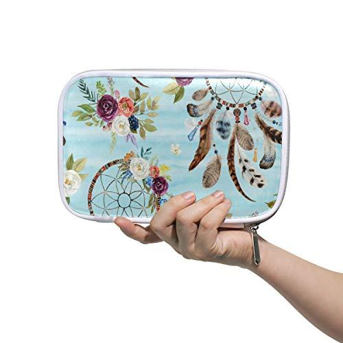 Funnyy Boho Atrapasueños floral pluma estuche multifuncional con cremallera bolsa de viaje maquillaje cepillo cosméticos bolsas para niños estudio mujer hombre trabajo