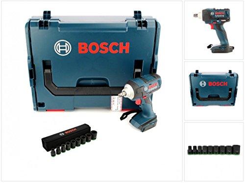 Preisvergleich Produktbild Bosch GDS 18 V-EC 250 Professional Akku Dreh Schlagschrauber Solo in L-Boxx ( 06019D8101 ) + 1/2' Steckschlüssel Einsatz 9-tlg. für Sechskant Schrauben ( 2608551100 )