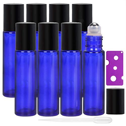 Allecommercial 8 Stück 10 ml ätherische Öle Roller Flaschen nachfüllbar kobaltblau Glas Roll on Flaschen mit Edelstahlkugeln inklusive 12 Etiketten, 1 Tropfer & Öffner, perfekt für Aromatherapie, Duft (ätherisches öl-roller-flaschen)