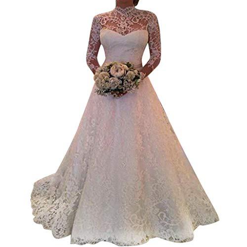 Holywin Damen mit Langen Ärmeln Spitze Brautkleid Elegante Party Abend schlank Maxi Kleider